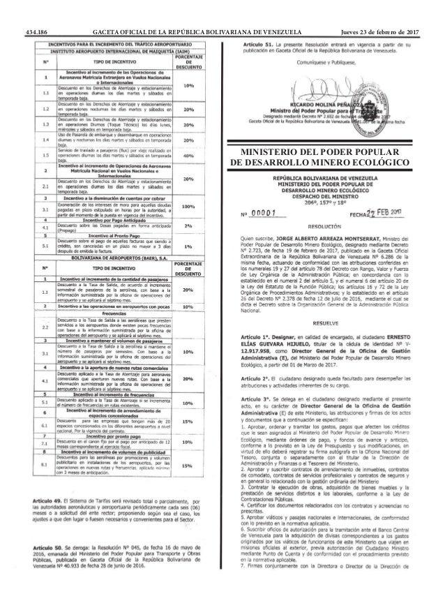 434.186 GACETA OFICIAL DE LA REPÚBLICA BOLIVARIANA DE VENEZUELA Jueves 23 de febrero de 2017 MINISTERIO DEL PODER POPULA...