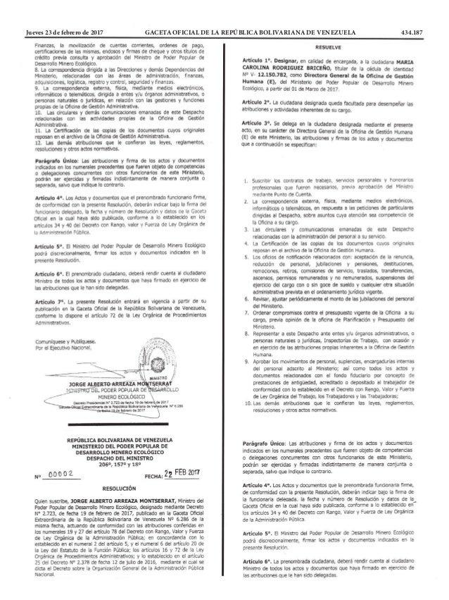 Jueves 23 de febrero de 2017 GACETA OFICIAL DE LA REPÚBLICA BOLIVARIANA DE VENEZUELA 434.187