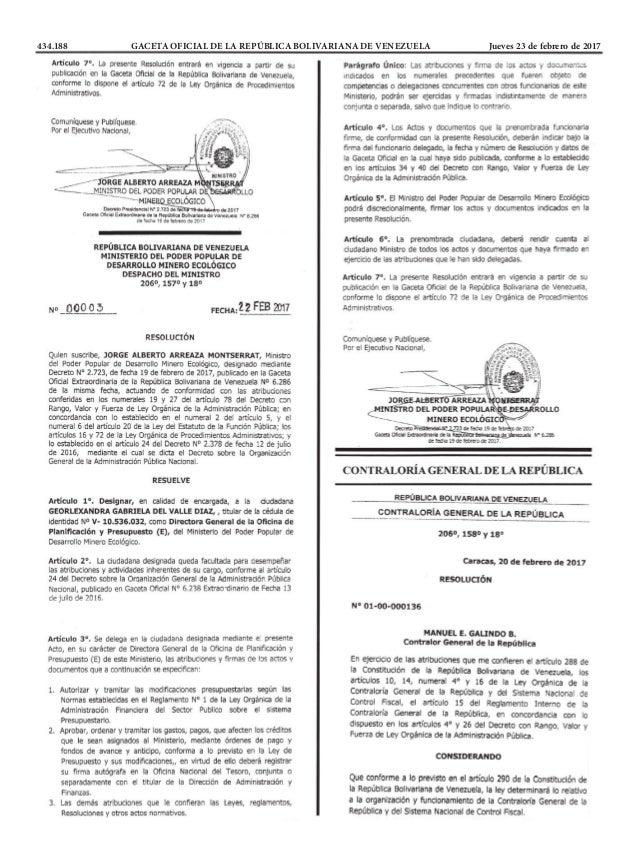 434.188 GACETA OFICIAL DE LA REPÚBLICA BOLIVARIANA DE VENEZUELA Jueves 23 de febrero de 2017