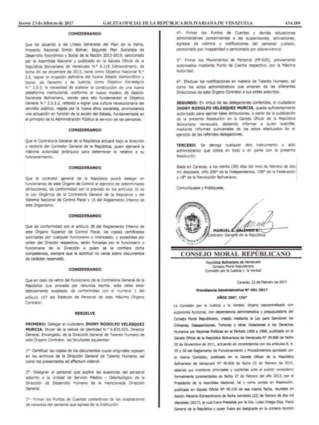 Jueves 23 de febrero de 2017 GACETA OFICIAL DE LA REPÚBLICA BOLIVARIANA DE VENEZUELA 434.189