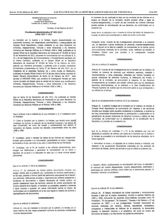 Jueves 23 de febrero de 2017 GACETA OFICIAL DE LA REPÚBLICA BOLIVARIANA DE VENEZUELA 434.193