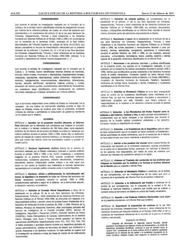 434.194 GACETA OFICIAL DE LA REPÚBLICA BOLIVARIANA DE VENEZUELA Jueves 23 de febrero de 2017