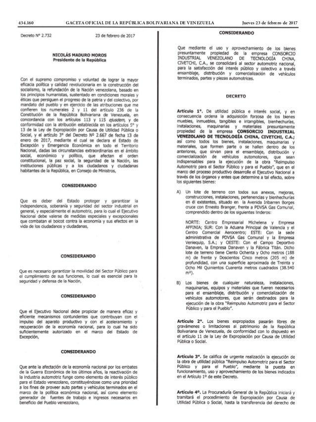 434.160 GACETA OFICIAL DE LA REPÚBLICA BOLIVARIANA DE VENEZUELA Jueves 23 de febrero de 2017