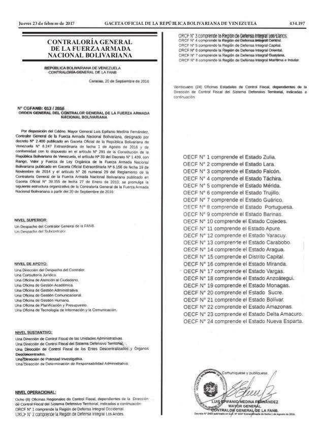 Jueves 23 de febrero de 2017 GACETA OFICIAL DE LA REPÚBLICA BOLIVARIANA DE VENEZUELA 434.197 CONTRALORÍA GENERAL DE LA...