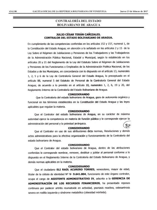 434.198 GACETA OFICIAL DE LA REPÚBLICA BOLIVARIANA DE VENEZUELA Jueves 23 de febrero de 2017 CONTRALORÍA DEL ESTADO BOLI...