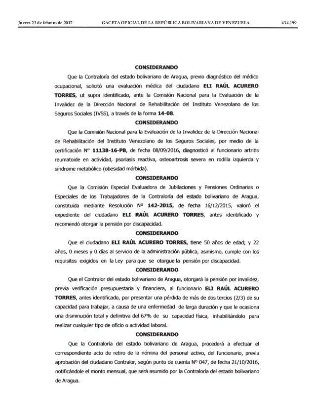 Jueves 23 de febrero de 2017 GACETA OFICIAL DE LA REPÚBLICA BOLIVARIANA DE VENEZUELA 434.199