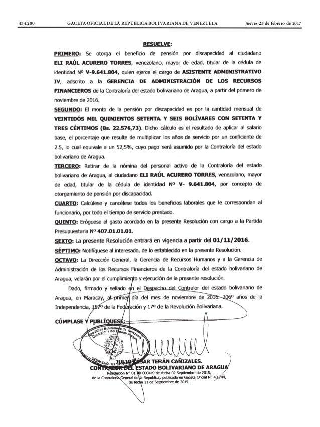 434.200 GACETA OFICIAL DE LA REPÚBLICA BOLIVARIANA DE VENEZUELA Jueves 23 de febrero de 2017