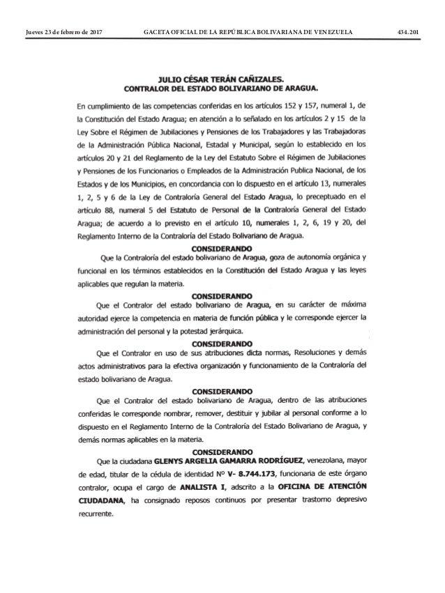 Jueves 23 de febrero de 2017 GACETA OFICIAL DE LA REPÚBLICA BOLIVARIANA DE VENEZUELA 434.201