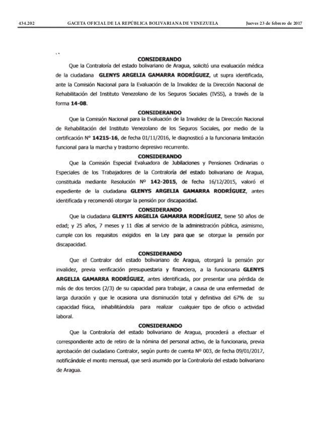 434.202 GACETA OFICIAL DE LA REPÚBLICA BOLIVARIANA DE VENEZUELA Jueves 23 de febrero de 2017