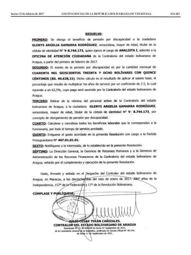 Jueves 23 de febrero de 2017 GACETA OFICIAL DE LA REPÚBLICA BOLIVARIANA DE VENEZUELA 434.203