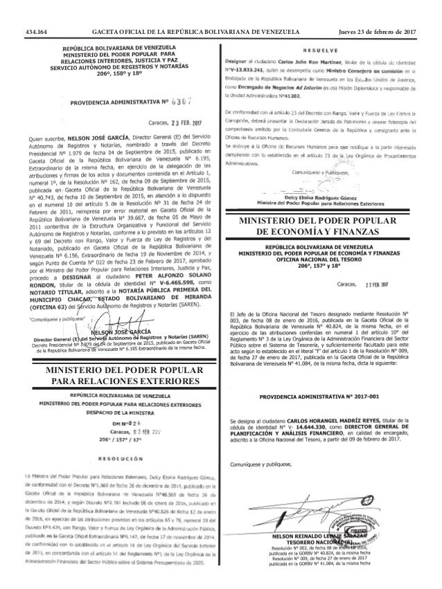 434.164 GACETA OFICIAL DE LA REPÚBLICA BOLIVARIANA DE VENEZUELA Jueves 23 de febrero de 2017 MINISTERIO DEL PODER POPULA...