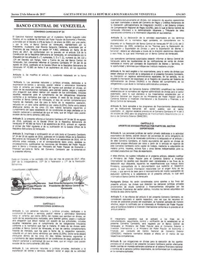 Jueves 23 de febrero de 2017 GACETA OFICIAL DE LA REPÚBLICA BOLIVARIANA DE VENEZUELA 434.165