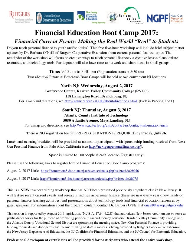 """Financial Education Boot Camp 2017: Financial Current Events: Making the Real World """"Real"""" to Students Do you teach person..."""