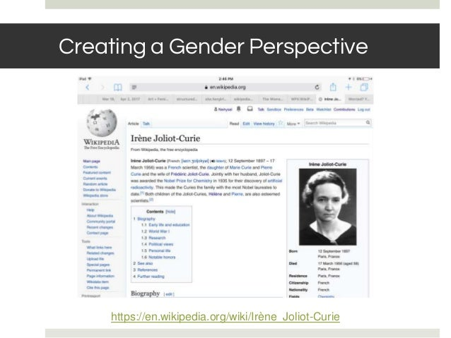 BASIC RULES: NOTABILITY Creating a Gender Perspective https://en.wikipedia.org/wiki/Irène_Joliot-Curie