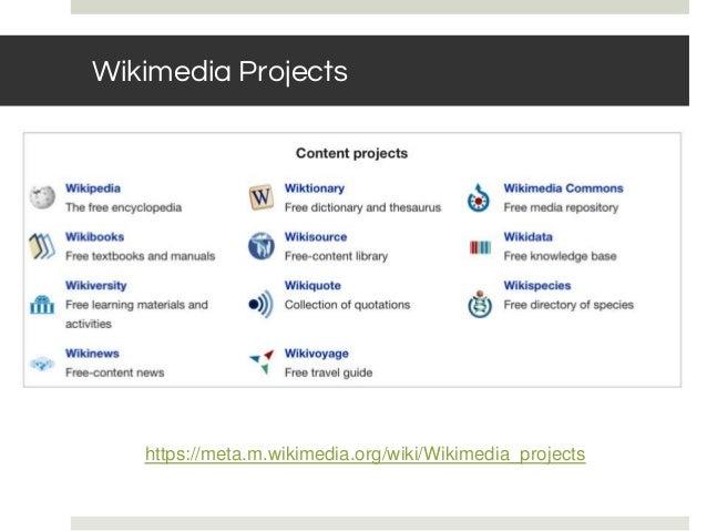 Wikimedia Projects https://meta.m.wikimedia.org/wiki/Wikimedia_projects