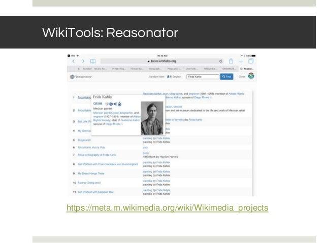 WikiTools: Reasonator https://meta.m.wikimedia.org/wiki/Wikimedia_projects