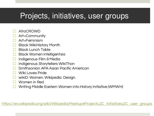 Projects, initiatives, user groups ⬜ AfroCROWD ⬜ Art+Community ⬜ Art+Feminism ⬜ Black WikiHistory Month ⬜ Black Lunch Tabl...