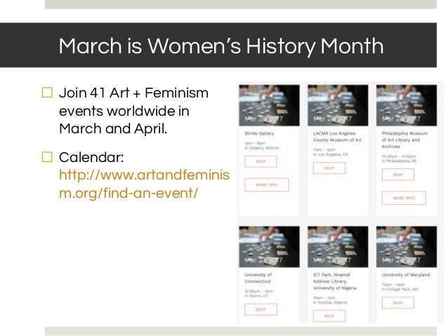 March is Women's History Month ⬜ Join 41 Art + Feminism events worldwide in March and April. ⬜ Calendar: http://www.artand...