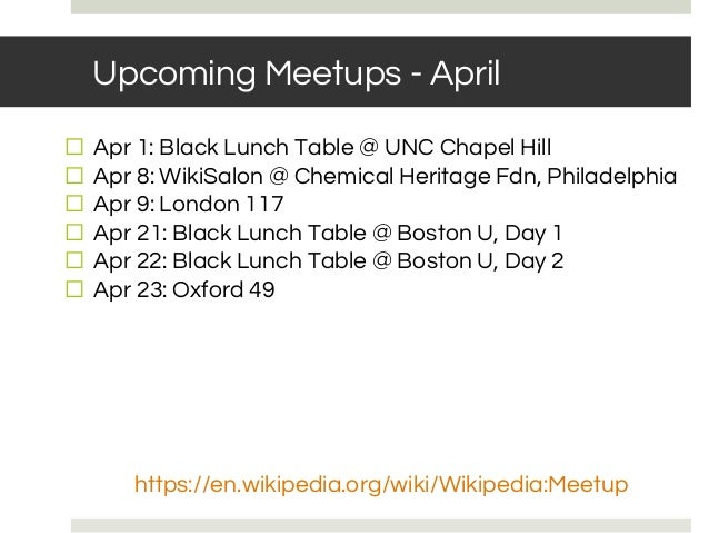 Upcoming Meetups - April ⬜ Apr 1: Black Lunch Table @ UNC Chapel Hill ⬜ Apr 8: WikiSalon @ Chemical Heritage Fdn, Philadel...