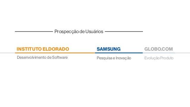 Prospecção de Usuários EvoluçãoProduto GLOBO.COM Pesquisa e InovaçãoDesenvolvimento de Software SAMSUNGINSTITUTO ELDORADO
