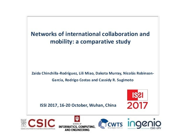 Networks of international collaboration and mobility: a comparative study ISSI 2017, 16-20 October, Wuhan, China Zaida Chi...