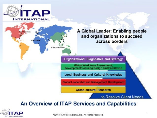 1 A Global Leader: Enabling people and organizations to succeed across borders An Overview of ITAP Services and Capabiliti...
