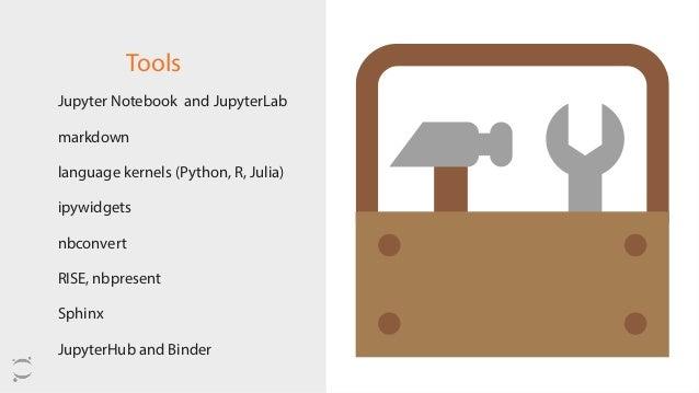 Tools Jupyter Notebook and JupyterLab markdown language kernels (Python, R, Julia) ipywidgets nbconvert RISE, nbpresent ...