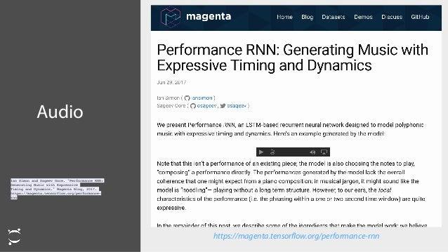 "Audio https://magenta.tensorflow.org/performance-rnn  Ian Simon and Sageev Oore. ""Performance RNN: Generating Music with E..."