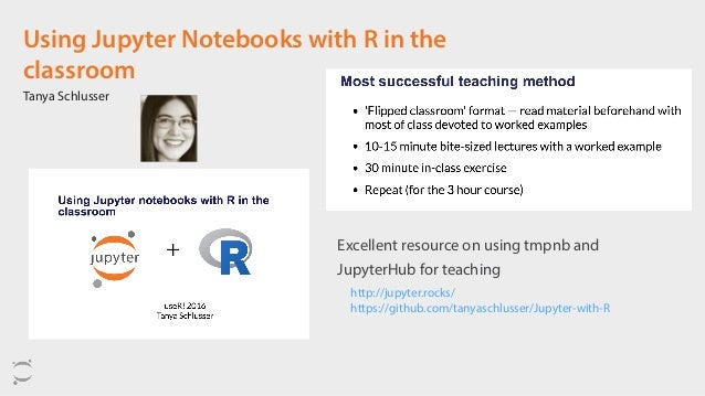Using Jupyter Notebooks with R in the classroom Tanya Schlusser Excellent resource on using tmpnb and JupyterHub for teach...