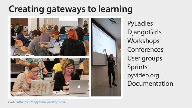 Creating gateways to learning PyLadies DjangoGirls Workshops Conferences User groups Sprints pyvideo.org Documentation Cre...
