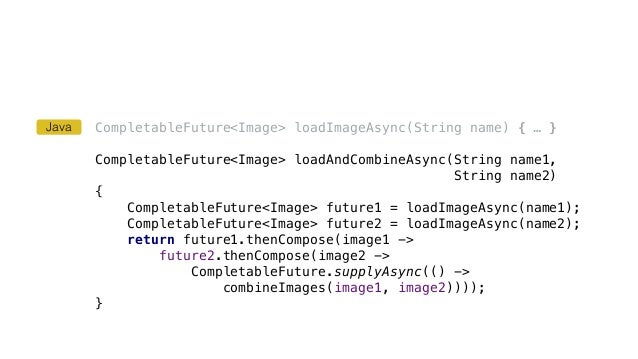 CompletableFuture<Image> loadImageAsync(String name) { … } CompletableFuture<Image> loadAndCombineAsync(String name1, Stri...