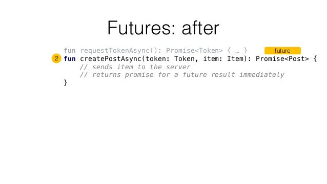 Futures: after fun requestTokenAsync(): Promise<Token> { … } fun createPostAsync(token: Token, item: Item): Promise<Post> ...