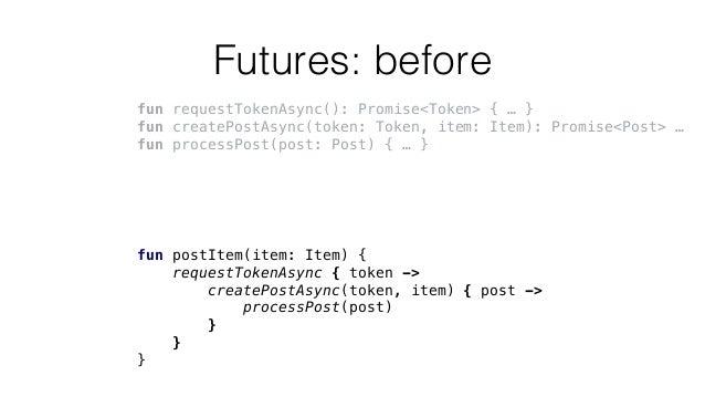 Futures: before fun requestTokenAsync(): Promise<Token> { … } fun createPostAsync(token: Token, item: Item): Promise<Post>...