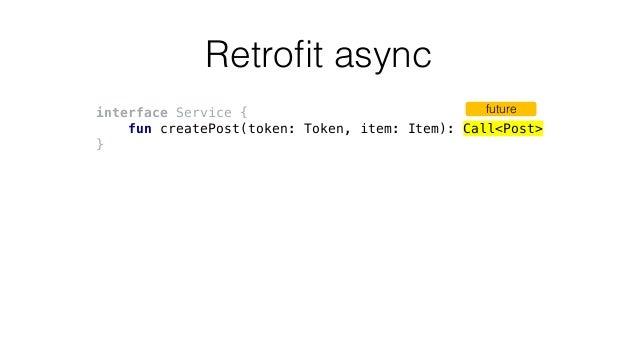 Retrofit async interface Service { fun createPost(token: Token, item: Item): Call<Post> } future