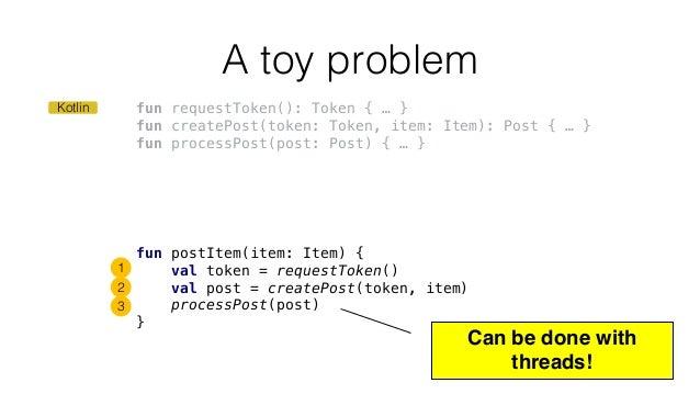 fun requestToken(): Token { … } fun createPost(token: Token, item: Item): Post { … } fun processPost(post: Post) { … } A t...