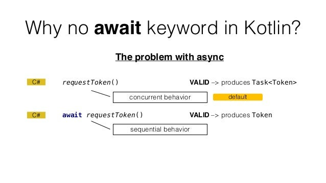Why no await keyword in Kotlin? The problem with async requestToken() VALID –> produces Task<Token> await requestToken() V...