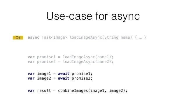 Use-case for async var result = combineImages(image1, image2); C# var promise1 = loadImageAsync(name1); var promise2 = loa...