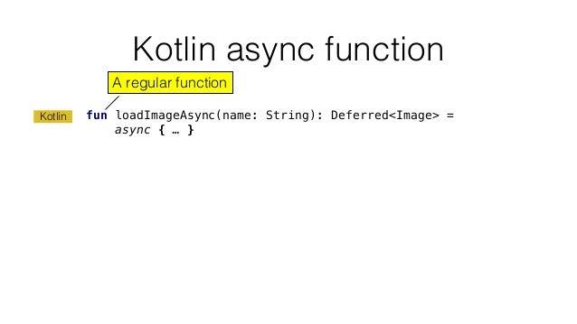 Kotlin async function fun loadImageAsync(name: String): Deferred<Image> = async { … } Kotlin A regular function