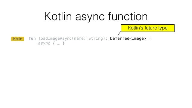Kotlin async function fun loadImageAsync(name: String): Deferred<Image> = async { … } Kotlin's future type Kotlin