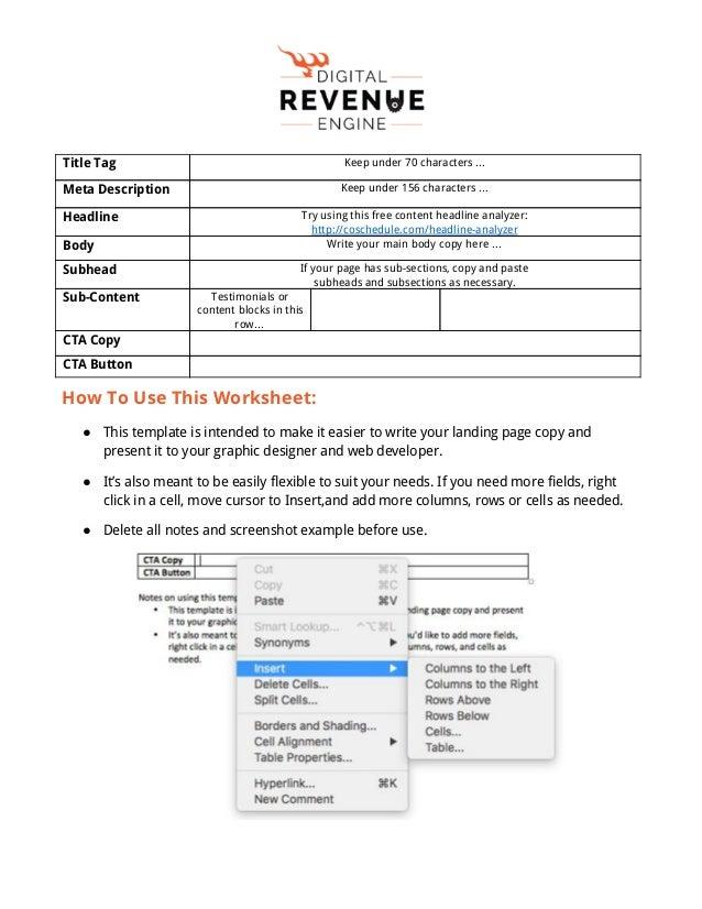 2017 Landing Page Copywriting Template