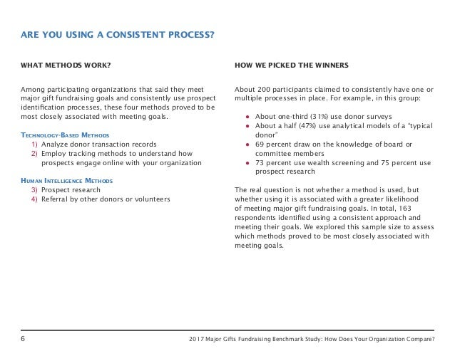 6 2017 Major Gifts Fundraising Benchmark Study: How Does Your Organization Compare? ARE YOU USING A CONSISTENT PROCESS? WH...