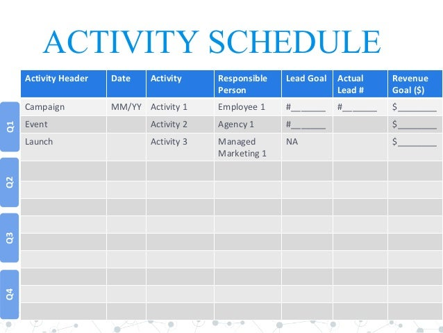 Marketing Schedule Template  Resume Template Sample