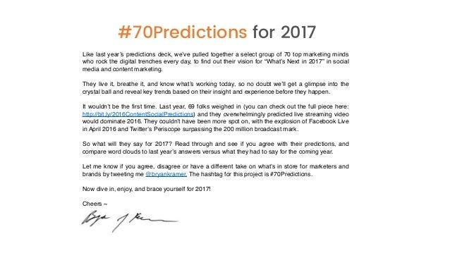 2017 Social Media & Content Marketing Predictions from 70 Marketing Leaders  Slide 2