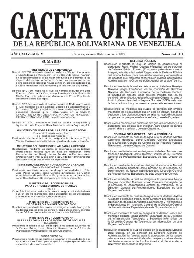 AÑO CXLIV - MES V Número 41.111Caracas, viernes 10 de marzo de 2017 DEFENSA PÚBLICA Resolución mediante la cual se asigna ...
