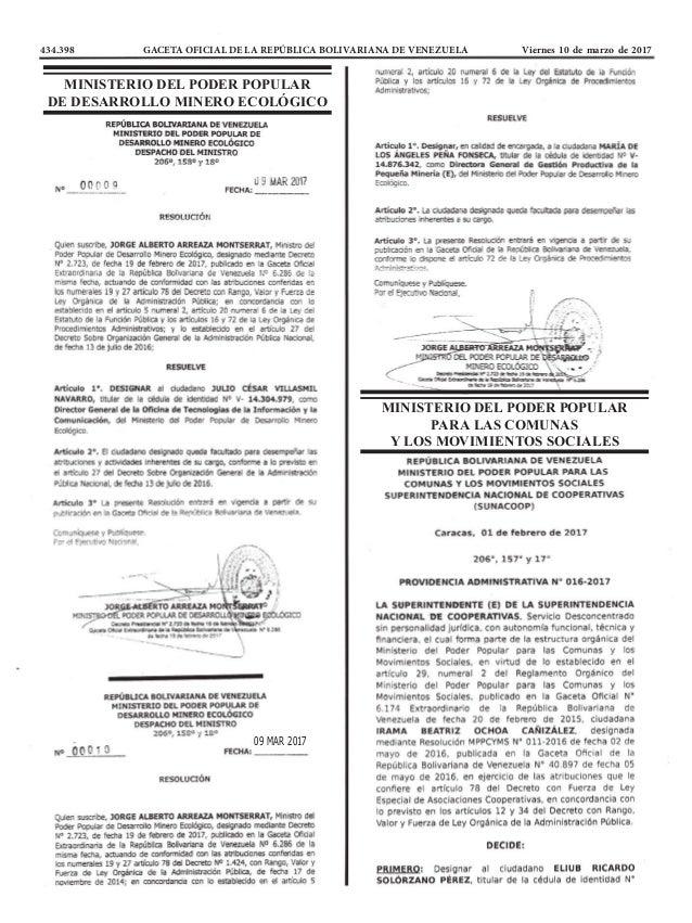 434.398 GACETA OFICIAL DE LA REPÚBLICA BOLIVARIANA DE VENEZUELA Viernes 10 de marzo de 2017 MINISTERIO DEL PODER POPULAR ...