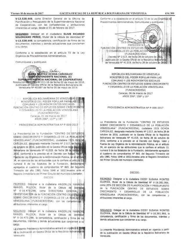 Viernes 10 de marzo de 2017 GACETA OFICIAL DE LA REPÚBLICA BOLIVARIANA DE VENEZUELA 434.399