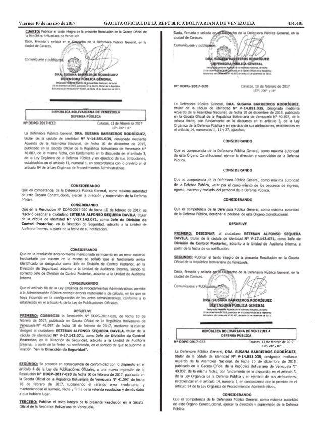 Viernes 10 de marzo de 2017 GACETA OFICIAL DE LA REPÚBLICA BOLIVARIANA DE VENEZUELA 434.401