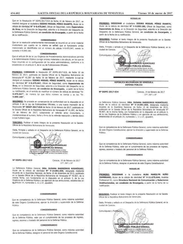 434.402 GACETA OFICIAL DE LA REPÚBLICA BOLIVARIANA DE VENEZUELA Viernes 10 de marzo de 2017