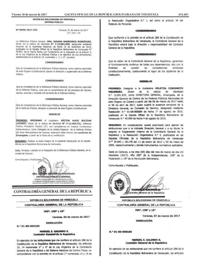 Viernes 10 de marzo de 2017 GACETA OFICIAL DE LA REPÚBLICA BOLIVARIANA DE VENEZUELA 434.403