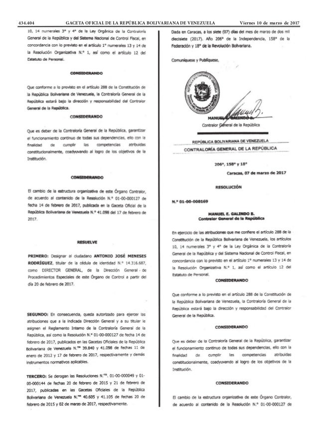 434.404 GACETA OFICIAL DE LA REPÚBLICA BOLIVARIANA DE VENEZUELA Viernes 10 de marzo de 2017
